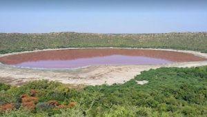 Hindistan'da 50 bin yıllık Lonar Gölü pembeye döndü