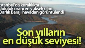 İstanbul'da kuraklıkta doluluk oranı en yüksek olan Darlık Barajı havadan görüntülendi